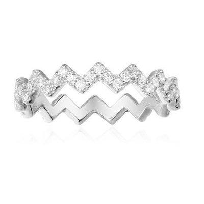 韓版類似APM MONACO閃電銀色鑽石星星戒指-水鑽鋯石超級亮-網美佈落客必備必買-比小香香雙CHANEL好看可搭耳環 台北市
