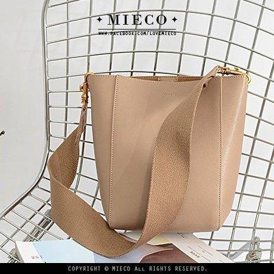【Mieco】休閒帆布寬背帶 山羊紋牛皮真皮水桶包小托特包。yolatengo smalls sangle