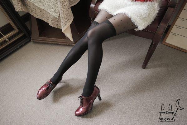 【拓拔月坊】日本品牌 Chaton Moe 點點後背線蝴蝶結 假膝上 褲襪 日本製~現貨!