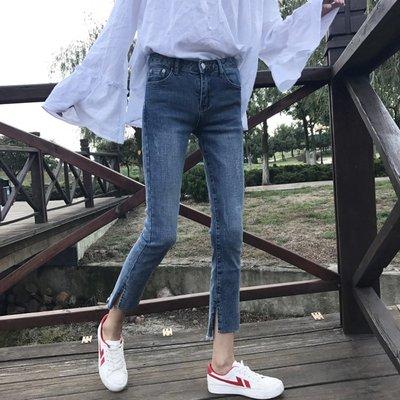 牛仔褲女破洞街拍款chic緊身褲子韓版高腰百搭學生潮