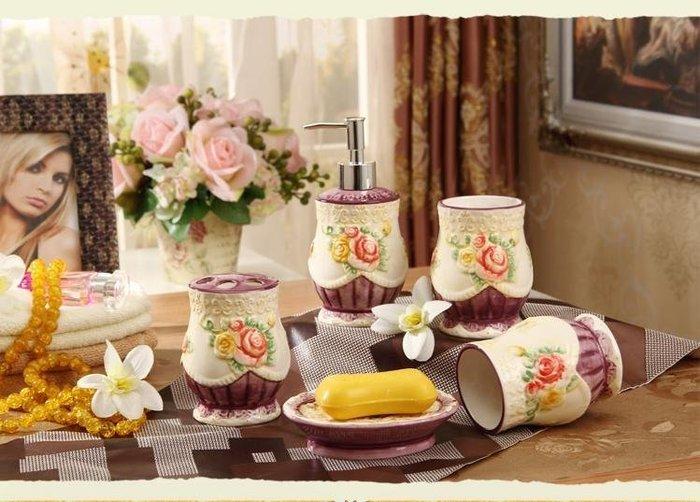 粉紅玫瑰精品屋~玫瑰花衛浴套裝歐式陶瓷浴室用品~
