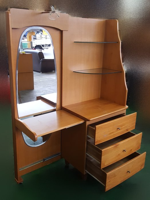 宏品二手家具館 中古家具 家電 B71107木色化妝台* 化妝桌 梳妝檯 穿衣鏡 臥室傢俱拍賣床組 床墊 床架