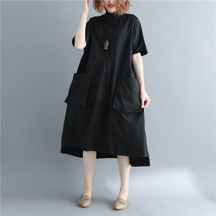 文藝大碼 立領開襟 不規則下擺顯瘦寬鬆連身裙 洋裝 Q5738【BU GU時尚布谷】