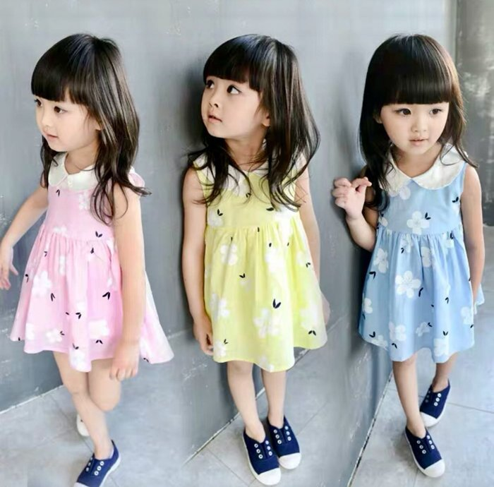 QQ羊*A401 韓版女童娃娃領無袖連身裙 小清新花朵棉質背心裙 夏薄公主裙 短裙,73-120cm