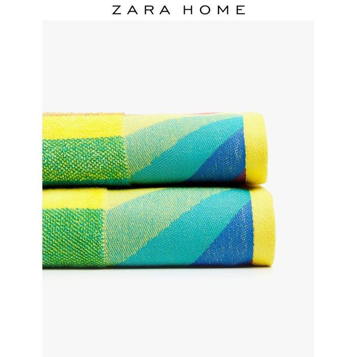 浴巾 毛巾Zara Home KIDS 系列彩虹圖案提花棉質洗臉毛巾浴巾 40954013999