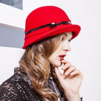 羊毛呢帽 禮 帽-秋冬時尚捲邊皮條女帽子7色73tk23[獨家進口][米蘭精品]