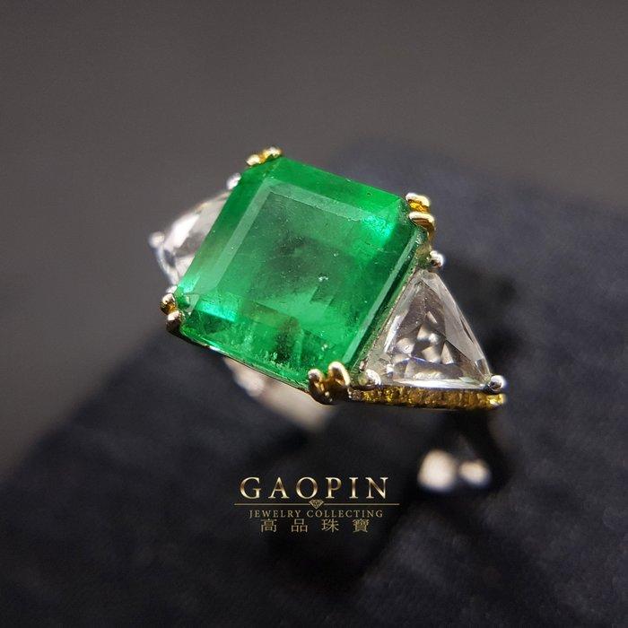 【高品珠寶】4.09克拉哥倫比亞微油祖母綠戒指 女戒 18K #744