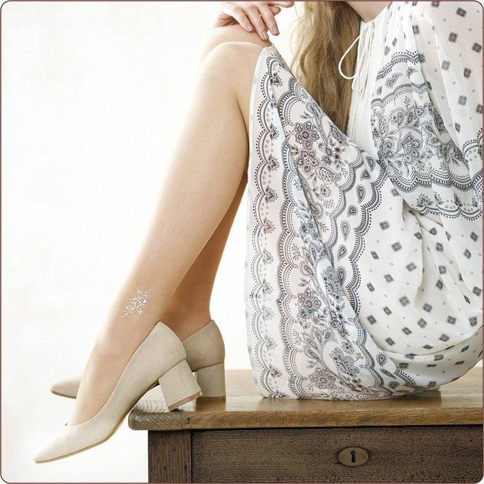 【拓拔月坊】IHRCOUTURE 日本郡是 GUNZE 著壓 珍珠彩鑽 熊印花朵腳踝飾 絲襪 日本製~現貨!