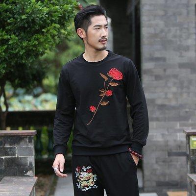 時尚服飾 中國風男裝t恤韓版修身長袖刺繡玫瑰花衛衣 秋冬薄款潮t恤打底衫