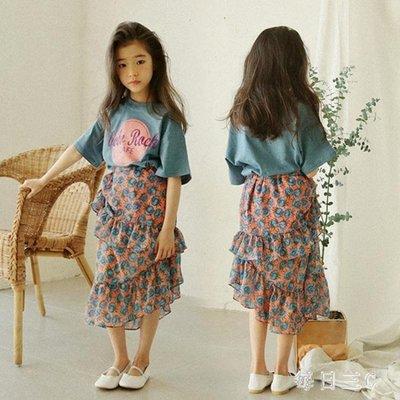 中大尺碼女童童女孩時尚兒童百褶雪紡半身裙長裙 zm5560
