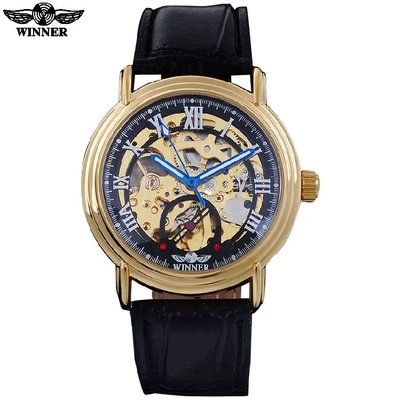 70 自動機械錶 WINNER金殼黑面 男錶男士全自動機械錶正品創意時尚金色鏤空羅馬字機械皮帶手錶學生錶 腕錶