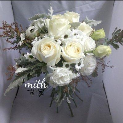※mith※純白雪國感鮮花球*snowy bouquet*prewedding 婚禮 婚宴 出門 註冊