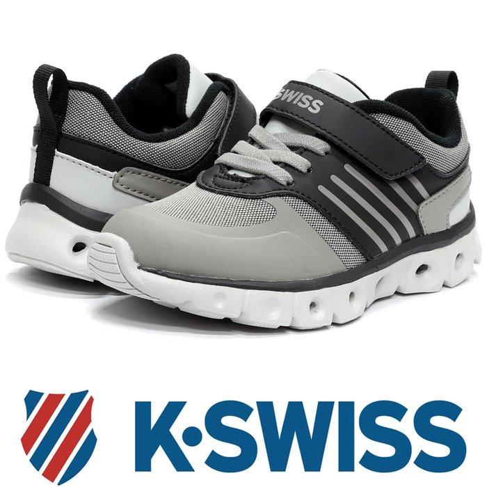 鞋大王K-SWISS 55890-091 黑×灰 單黏帶多功能運動鞋(童鞋)【免運費,加贈襪子】725K