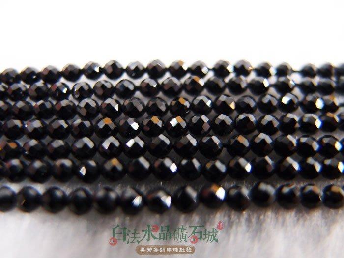白法水晶礦石城  緬甸 天然-黑尖晶石 2mm切面 串珠/條珠 首飾材料