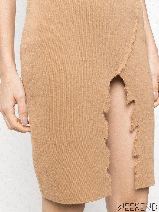 【WEEKEND】 ANTONELLA RIZZA 破壞 開岔 針織 彈性 短裙 駝色