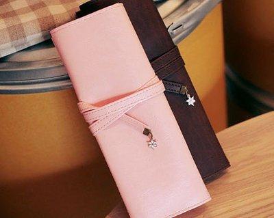 *YOOWOO*特賣【韓國空運 Steam RXZN 氣質系 星星小花墜飾 復古綁帶 皮革化妝袋 筆盒筆袋】