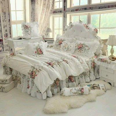 粉紅玫瑰精品屋~韓式玫瑰純棉蕾絲床組~雙人特大