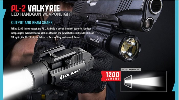 【LED Lifeway】Olight PL-2 VALKYRIE (公司貨-附電池)1200流明手槍燈 2*CR123