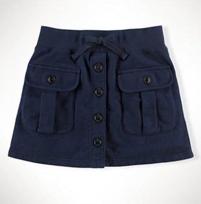 【全新正品】Ralph Lauren 深藍厚棉口袋前釦小波浪短裙~M ~現貨在台