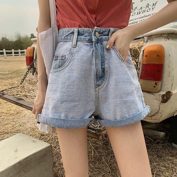 牛仔褲 2019夏季新款港味高腰水洗牛仔褲闊腿褲卷邊寬鬆褲子短褲熱褲女裝