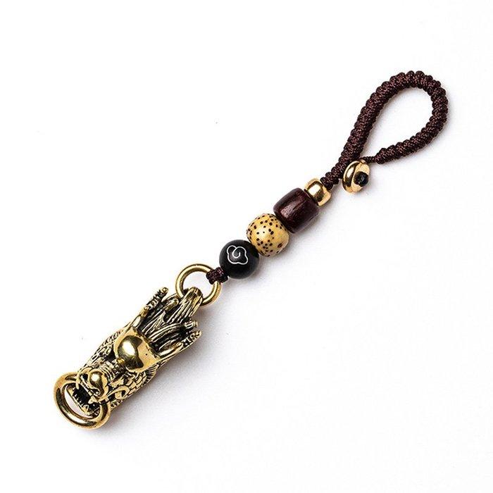 5Cgo【茗道】汽車鑰匙挂件黃銅龍頭鑰匙扣男士個性純銅龍飾品挂件鑰匙鏈女複古風辟邪旺財好運平安 582277331658