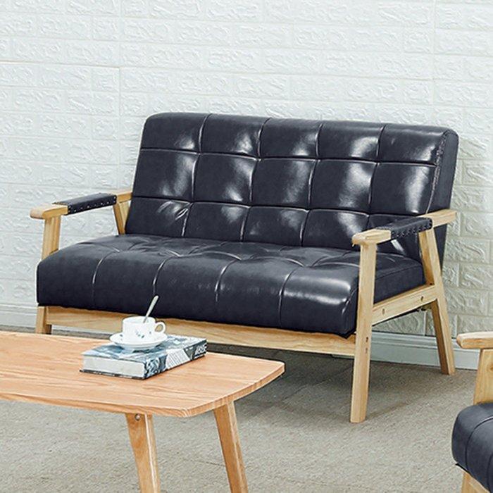 【在地人傢俱】19 樂樂購-1號淺木紋黑色皮2人/二人/雙人沙發椅 JL98-5