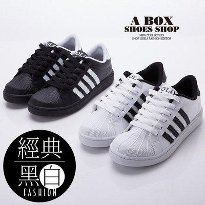 格子舖*【KBP-9008】MIT台灣製 經典黑白時尚 流行穿搭貝殼鞋 綁帶休閒板鞋 黑色/白黑 2色