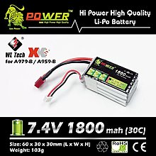 全新 🔋 Lion Power 🔋 7.4V 1800mah (30c) Li-Po Battery 鋰電池 T插 (A959-B/A959-B遙控車合用)