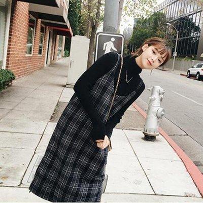 秋冬套裝時尚CHIC港味格子背帶裙毛呢...