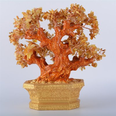 文玩純天然琥珀蜜蠟樹 琥珀樹擺件