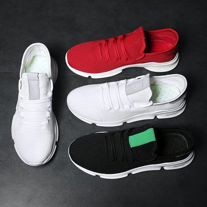 時尚男鞋爆款男鞋韓版男士防滑透氣小白鞋輕便紅色帆布鞋