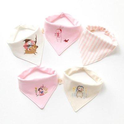 嬰兒口水巾三角巾寶寶純棉圍嘴雙層按扣新生兒童圍巾頭巾春秋