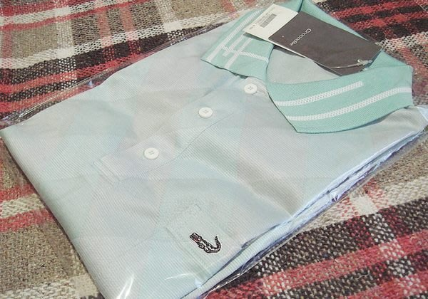 破盤清倉大降價!全新 名牌 高質感 Crocodile 長袖 淡水藍色淡格紋 POLO 衫,低價起標無底價!免運費!