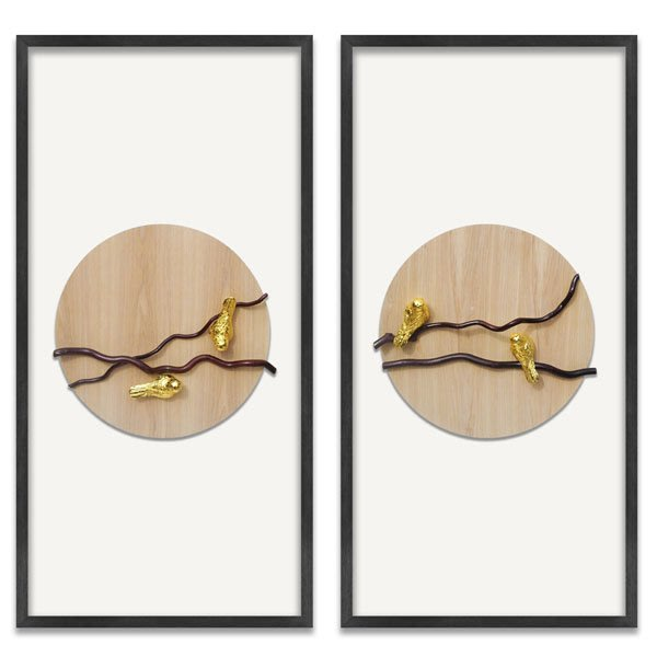 5Cgo【茗道】立體裝飾畫沙發背景牆電表箱書房茶室軟裝禪意掛畫拼貼立體抽象小鳥設計師-長型 560077469366