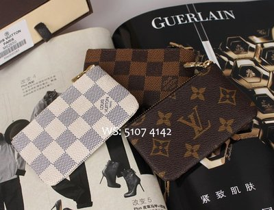 LV 老花棋盤格拉鏈金扣鑰匙包 散銀包 零錢包 M62650 Wallet