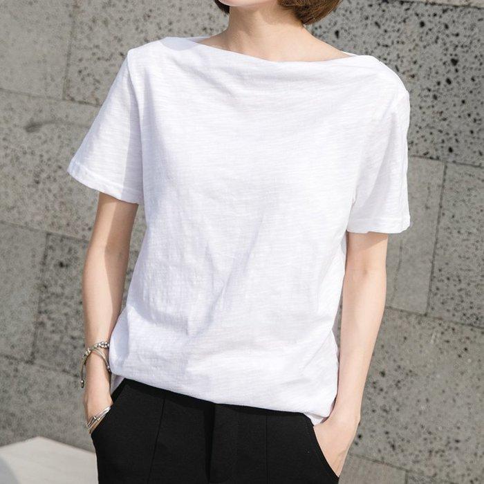 【極簡時尚】純棉短袖t恤一字肩短袖上衣│6色/S~2XL