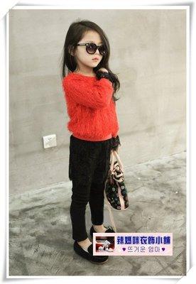 •*~ 辣媽咪衣飾小舖 ~*•❤童裝系列❤N030523韓版煙花絨蕾絲拼接加絨加厚毛衣洋裝
