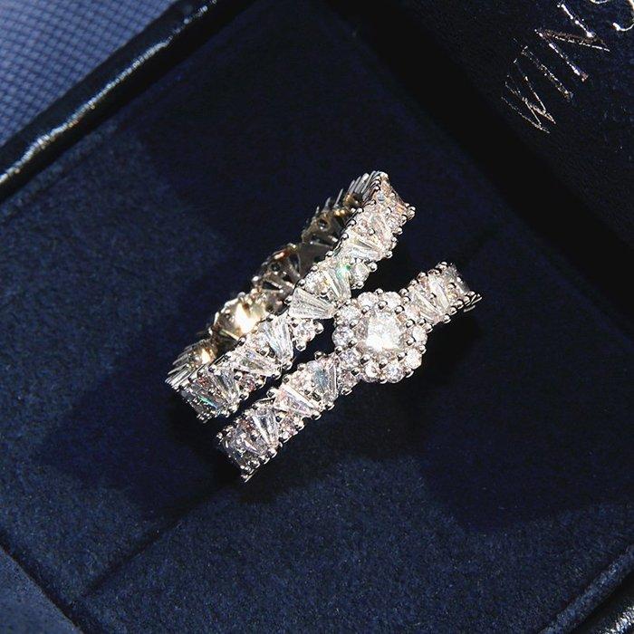 衣萊時尚-S925純銀組合疊戴戒指女小眾設計潮氣質網紅鉆戒雙層指環時尚個性