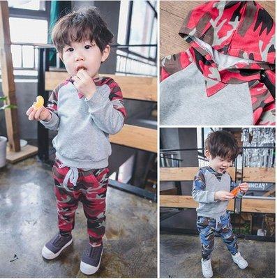 ♥【BS0131】CT-6614 韓版男童裝迷彩拼色連帽套裝 2色 (紅色 現貨) ♥