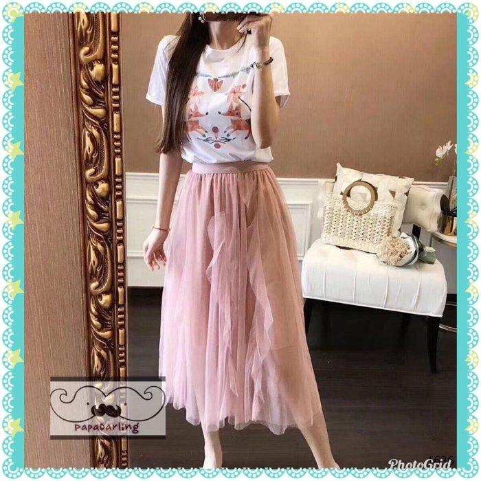 PapaDarling 19SS 約會款百搭狐貍圖案圓領短袖上衣 T恤穿搭 粉紅色網紗長裙 短袖裙裝 套裝