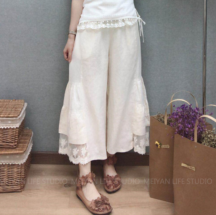 棉麻 褲裙 蕾絲 九分褲 ~ 1832