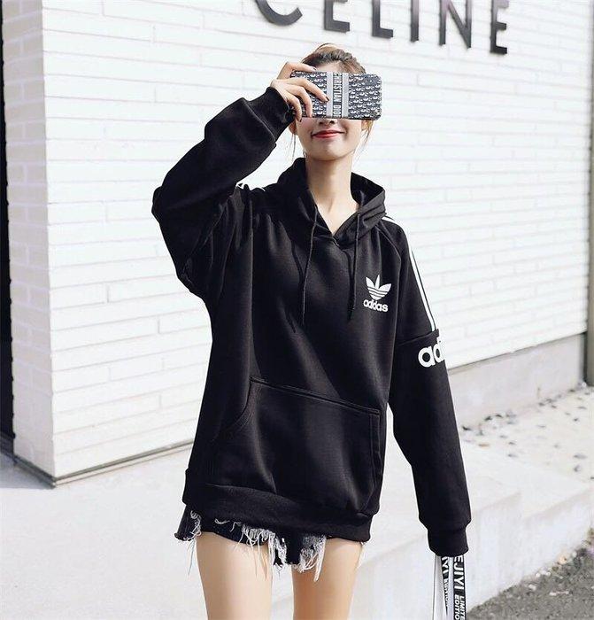 『Fashion❤House』新款Adidas三葉草新品情侶款加絨連帽衛衣人氣爆款愛迪達長袖t恤潮流個性連帽長袖