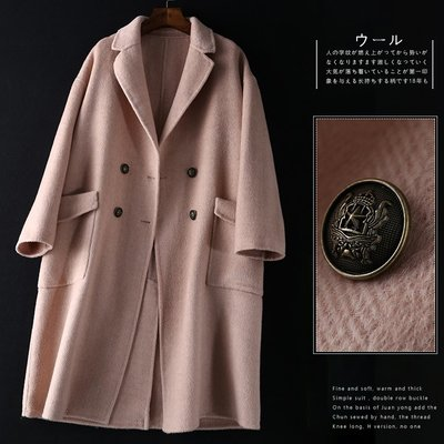 原單 外貿 尾單 // 特價回饋,壓軸出場~人字紋 純手工長款100%雙面羊毛呢大衣