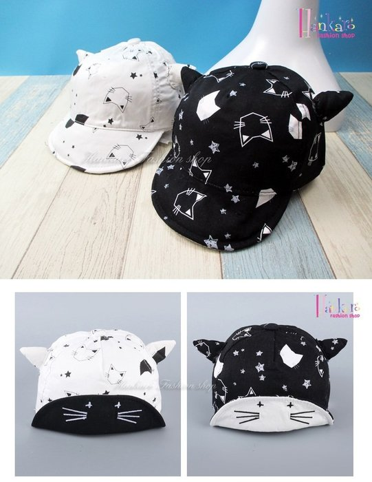 ☆[Hankaro]☆ 夏季新款貓咪印刷牛角兒童遮陽帽系列~(合併批發另洽)
