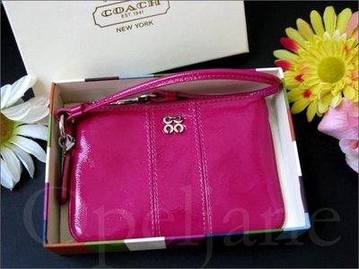 Coach 桃紅色真皮手拿包 手腕包可放 Apple IPHONE  4 5 手機 精緻禮盒+150元 愛Coach包包