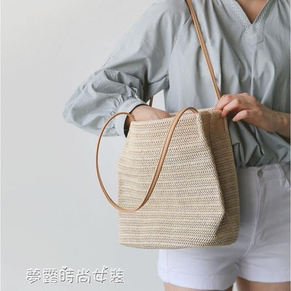 包包女新款韓版手提草編沙灘包度假大容量簡約編織單肩水桶包
