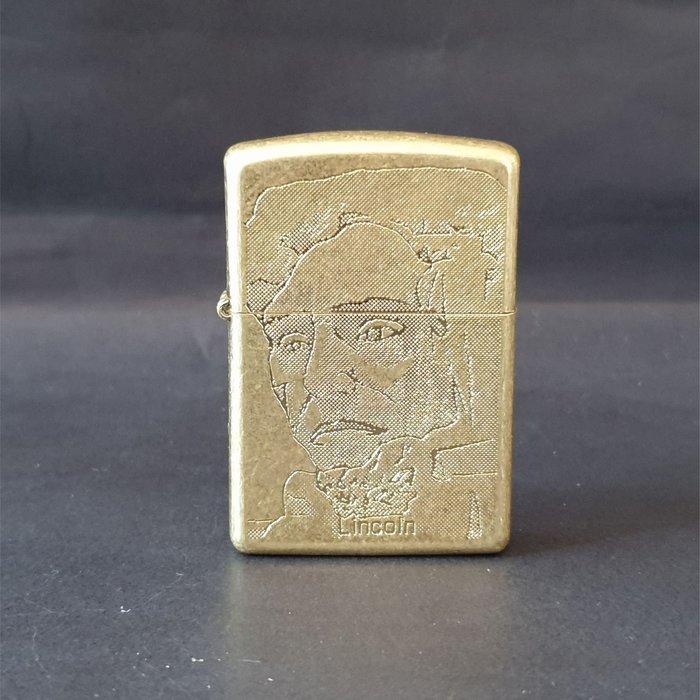 ONE*$1~*日系*ZIPPO*LINCOIN-1994《林肯*珍藏版》磨砂銅磨光*序號:0124