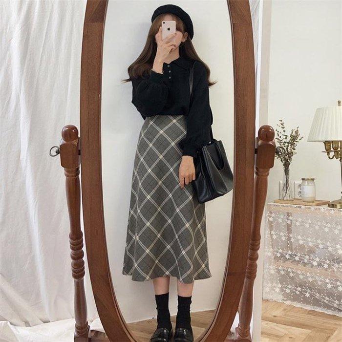 毛衣加裙子洋裝    早秋兩件套裝女氣質秋季學生原宿學院風毛衣加配半身裙子冬