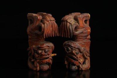 ㊣姥姥的寶藏㊣【珍藏級】 【珍品精拍】 清/代 銀杏木 木雕獅子一對兩隻 [木獅]包老包到代