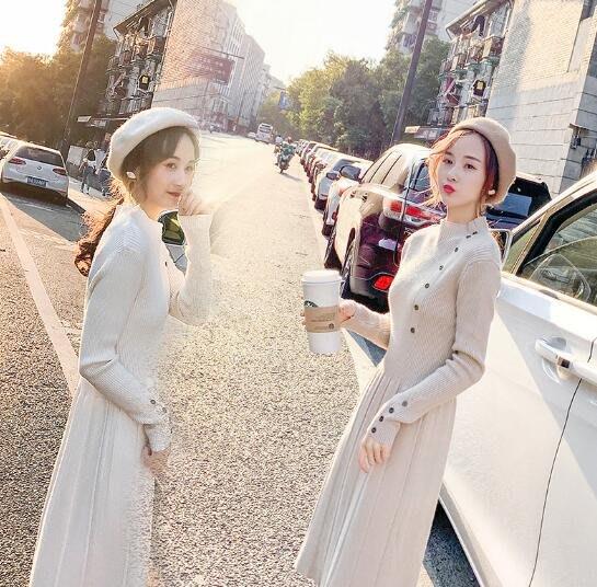 高端定制款 針織洋裝 針織連身裙 秋冬季 中長款氣質打底長裙 過膝毛衣裙子 莎芭